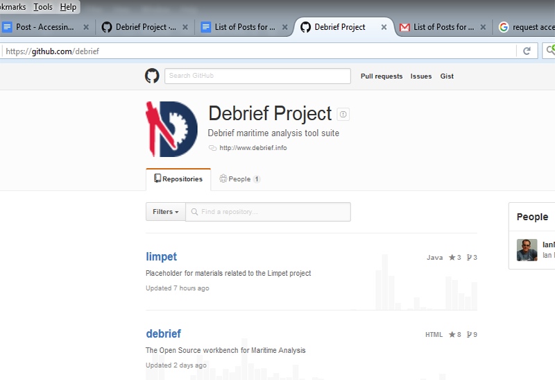The Debrief Homepage on GitHub